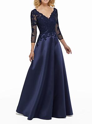 cheap Evening Dresses-A-Line Elegant Blue Wedding Guest Formal Evening Dress V Neck 3/4 Length Sleeve Floor Length Satin with Beading Appliques 2020