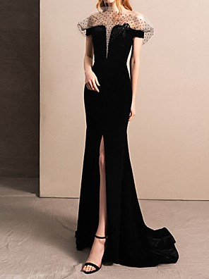 cheap Evening Dresses-Mermaid / Trumpet Wedding Dresses Off Shoulder Sweep / Brush Train Tulle Short Sleeve Beach Black with Split Front 2020