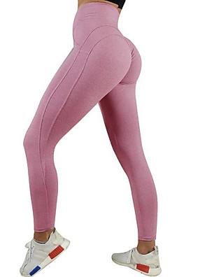 cheap Leggings-Women's High Waist Yoga Pants Ruched Butt Lifting Cropped Leggings Butt Lift Black Pink Blue Gym Workout Running Fitness Sports Activewear High Elasticity Skinny