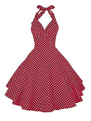 cheap Prom Dresses-Women's A Line Dress - Sleeveless Polka Dot Halter Neck White Black Blue Red S M L XL XXL