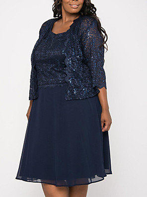 cheap Cocktail Dresses-A-Line Mother of the Bride Dress Plus Size Jewel Neck Knee Length Chiffon 3/4 Length Sleeve with Sequin 2020