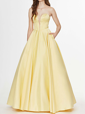 cheap Evening Dresses-Ball Gown Elegant Yellow Engagement Prom Dress Strapless Sleeveless Floor Length Satin with Bow(s) 2020