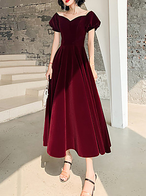 cheap Prom Dresses-A-Line Minimalist Red Cocktail Party Prom Dress Scoop Neck Short Sleeve Tea Length Velvet with Pleats 2020