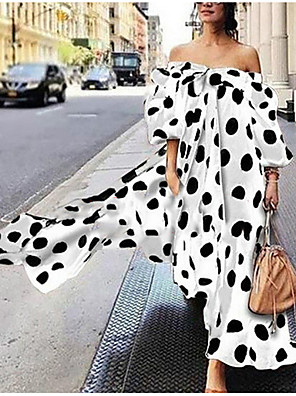 cheap Evening Dresses-Women's Plus Size Maxi Swing Dress - Long Sleeve Polka Dot Print Bowknot Front Tie Summer Off Shoulder Holiday Vacation Beach Loose White Black Red Brown S M L XL XXL XXXL XXXXL XXXXXL