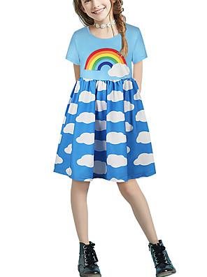 cheap Girls' Dresses-Kids Girls' Basic Cute Color Block Patchwork Print Short Sleeve Above Knee Dress Light Blue