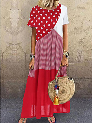 cheap White Dresses-Women's Shift Dress Maxi long Dress - Short Sleeves Polka Dot Striped Color Block Summer Boho Loose 2020 Blue Red Yellow Red Combo S M L XL XXL XXXL