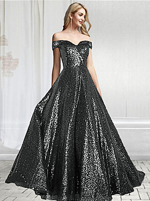 cheap Prom Dresses-A-Line Sparkle Black Prom Formal Evening Dress Off Shoulder Short Sleeve Floor Length Sequined with Sequin 2020