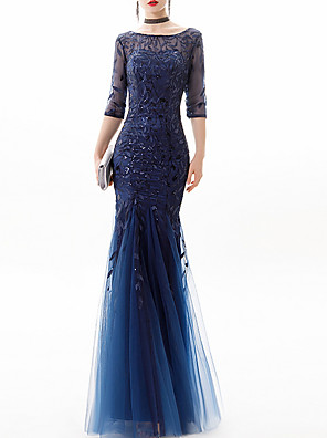 cheap Prom Dresses-Mermaid / Trumpet Glittering Blue Engagement Formal Evening Dress Jewel Neck 3/4 Length Sleeve Floor Length Lace Polyester with Sequin Appliques 2020
