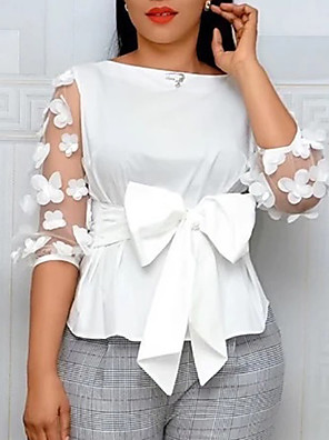 cheap Wedding Slips-Women's Shirt Solid Colored Bow Tops White Red Yellow