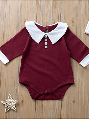 cheap Baby Girls' One-Piece-Baby Girls' Basic Color Block Long Sleeve Romper Wine