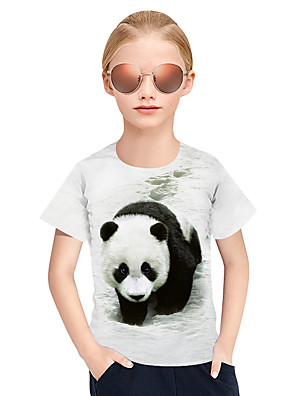 cheap Girls' Dresses-Kids Girls' Active Punk & Gothic 3D Plaid Animal Short Sleeve Tee White