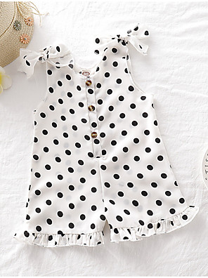 cheap Baby Girls' One-Piece-Baby Girls' Basic Polka Dot Sleeveless Romper White