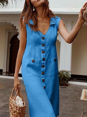 cheap Casual Dresses-Women's Plus Size Midi Dress - Sleeveless Button Summer V Neck Casual Vacation 2020 Black Blue Red Fuchsia Beige S M L XL XXL XXXL XXXXL XXXXXL