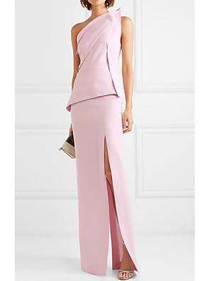cheap Prom Dresses-Sheath / Column Peplum Wedding Guest Formal Evening Dress One Shoulder Sleeveless Floor Length Polyester with Split 2020