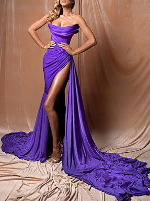 cheap Evening Dresses-A-Line Sexy Purple Engagement Formal Evening Dress Strapless Sleeveless Court Train Polyester with Pleats Draping Split 2020