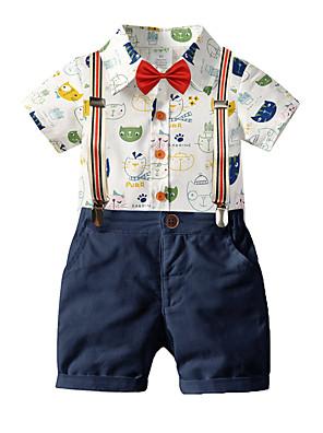 cheap Boys' Clothing Sets-Toddler Boys' Basic Birthday Party Party & Evening Cat Cartoon Print Short Sleeve Regular Regular Clothing Set Royal Blue