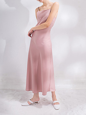 cheap Cocktail Dresses-A-Line Empire Pink Holiday Cocktail Party Dress Spaghetti Strap Sleeveless Ankle Length Charmeuse with Pleats 2020