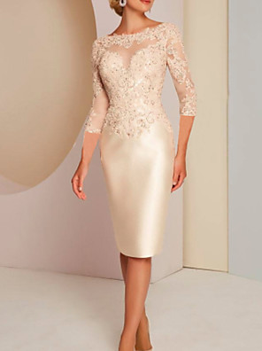 cheap Evening Dresses-Sheath / Column Mother of the Bride Dress Elegant Jewel Neck Knee Length Charmeuse 3/4 Length Sleeve with Appliques 2020