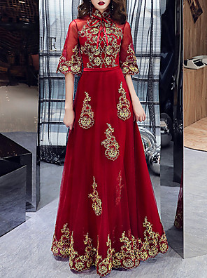 cheap Evening Dresses-A-Line Chinese Style Engagement Formal Evening Dress High Neck Half Sleeve Floor Length Tulle with Embroidery Appliques 2020