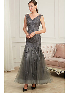 cheap Wedding Dresses-Mermaid / Trumpet Elegant Grey Party Wear Formal Evening Dress V Neck Sleeveless Floor Length Tulle Polyester with Sequin Appliques 2020