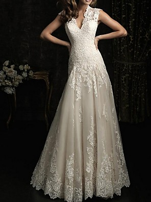 cheap Wedding Dresses-A-Line Wedding Dresses V Neck Sweep / Brush Train Lace Sleeveless Beach with Lace Insert Embroidery 2020
