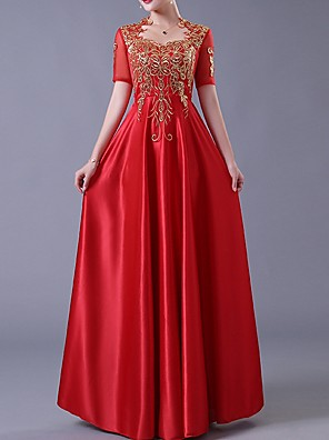 cheap Evening Dresses-A-Line Elegant Red Wedding Guest Engagement Dress Queen Anne Short Sleeve Floor Length Polyester with Bow(s) Appliques 2020