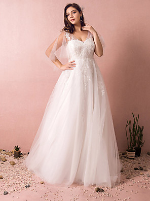 cheap Wedding Dresses-A-Line V Neck Court Train Satin / Tulle Half Sleeve Formal Plus Size Wedding Dresses with Appliques 2020