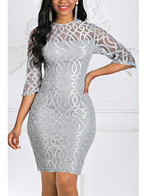 cheap Party Dresses-Women's Plus Size Bodycon Short Mini Dress - 3/4 Length Sleeve Solid Colored Lace Spring Fall Elegant Cocktail Party Slim Red Gray S M L XL XXL XXXL XXXXL XXXXXL