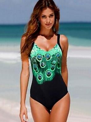 cheap Tankinis-Women's Black One-piece Swimwear Swimsuit - Geometric S M L Black