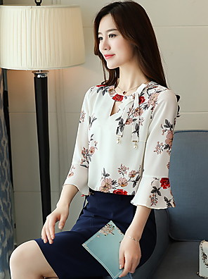 cheap Women's Blouses & Shirts-Women's Blouse Floral Tops White Blue