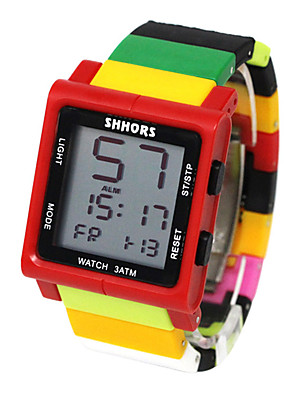 cheap Square & Rectangular Watches-Kids Sport Watch Quartz Outdoor Water Resistant / Waterproof Rubber Black / Blue / Red Digital - Red / Yellow Black Red One Year Battery Life / Chronograph / Noctilucent
