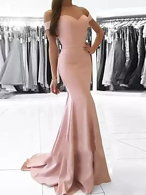 cheap Evening Dresses-Mermaid / Trumpet Off Shoulder Court Train Polyester Bridesmaid Dress with Ruching