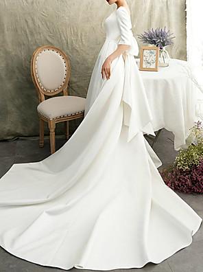 cheap Prom Dresses-A-Line Wedding Dresses Bateau Neck Watteau Train Satin Half Sleeve Formal Vintage Elegant with Bow(s) 2020