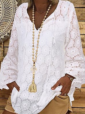 cheap Women's Blouses-Women's Solid Colored Lace Hollow Shirt - Lace Daily Vacation White / Black