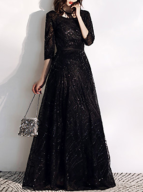 cheap Evening Dresses-A-Line Glittering Prom Formal Evening Dress Jewel Neck Half Sleeve Floor Length Tulle Sequined with Sequin Embroidery 2020