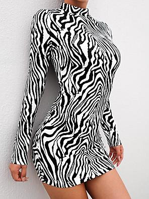 cheap Women's Dresses-Women's Mini Sheath Dress - Long Sleeve Striped Turtleneck Slim Black S M L