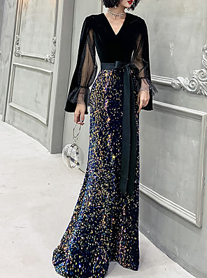 cheap Evening Dresses-Mermaid / Trumpet Glittering Black Prom Formal Evening Dress V Neck Long Sleeve Floor Length Sequined Velvet with Sequin 2020