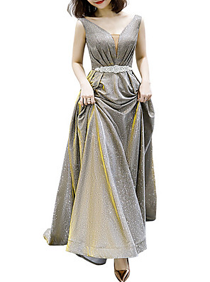 cheap Evening Dresses-A-Line Glittering Gold Prom Formal Evening Dress V Neck Sleeveless Floor Length Polyester with Sash / Ribbon Beading Sequin 2020