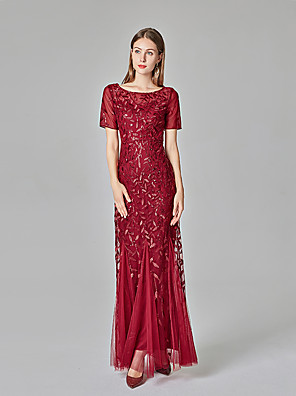 cheap Evening Dresses-Mermaid / Trumpet Glittering Red Engagement Formal Evening Dress Jewel Neck Short Sleeve Floor Length Tulle Sequined with Sequin Appliques 2020