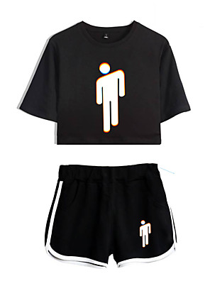 cheap Bridesmaid Dresses-Inspired by Cosplay Billie Eilish Pants Cosplay Costume Pure Cotton Print Shorts For Women's / T-shirt
