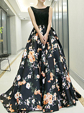 cheap Evening Dresses-Ball Gown Floral Black Prom Formal Evening Dress Jewel Neck Sleeveless Sweep / Brush Train Polyester with Pattern / Print 2020