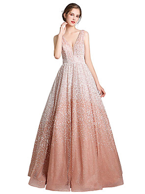 cheap Evening Dresses-Ball Gown Beautiful Back Sexy Quinceanera Formal Evening Dress V Neck Sleeveless Floor Length PU with Sleek 2020