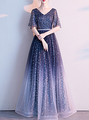 cheap Evening Dresses-A-Line Color Block Prom Formal Evening Dress V Neck Half Sleeve Floor Length Tulle with Crystals Sequin 2020