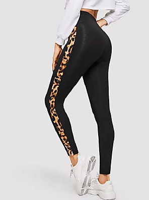 cheap Evening Dresses-Women's Sporty Slim Sweatpants Pants - Leopard Black S / M / L