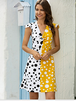 cheap Women's Dresses-Women's A Line Dress - Short Sleeves Color Block V Neck Black Yellow Blushing Pink Orange S M L XL