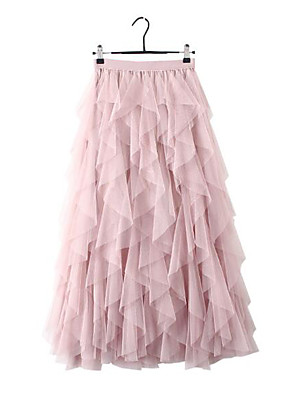 cheap Women's Skirts-Women's Daily Wear Basic A Line Skirts - Solid Colored Tulle Blushing Pink Black Beige One-Size
