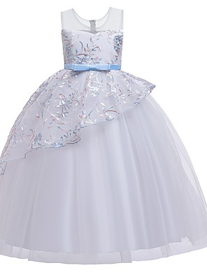 cheap Junior Bridesmaid Dresses-Princess Round Floor Length Cotton Junior Bridesmaid Dress with Bow(s) / Tier / Embroidery