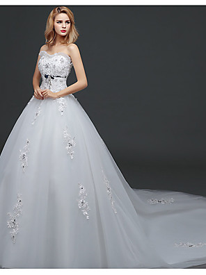 cheap Evening Dresses-Ball Gown Wedding Dresses Strapless Watteau Train Lace Tulle Polyester Strapless Romantic Sexy with Crystals 2020