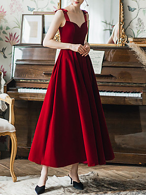 cheap Mother of the Bride Dresses-A-Line Sexy Prom Formal Evening Dress Sweetheart Neckline Sleeveless Ankle Length Spandex Satin with Bow(s) 2020