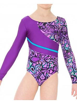 cheap Gymnastics-21Grams Gymnastics Leotards Girls' Leotard Spandex High Elasticity Breathable Long Sleeve Training Ballet Dance Gymnastics Purple